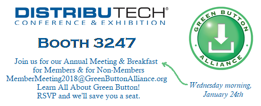GBA Members Meeting at DistribuTECH on Wednesday morning of the 24th of January, inviting anyone to learn and have breakfast.