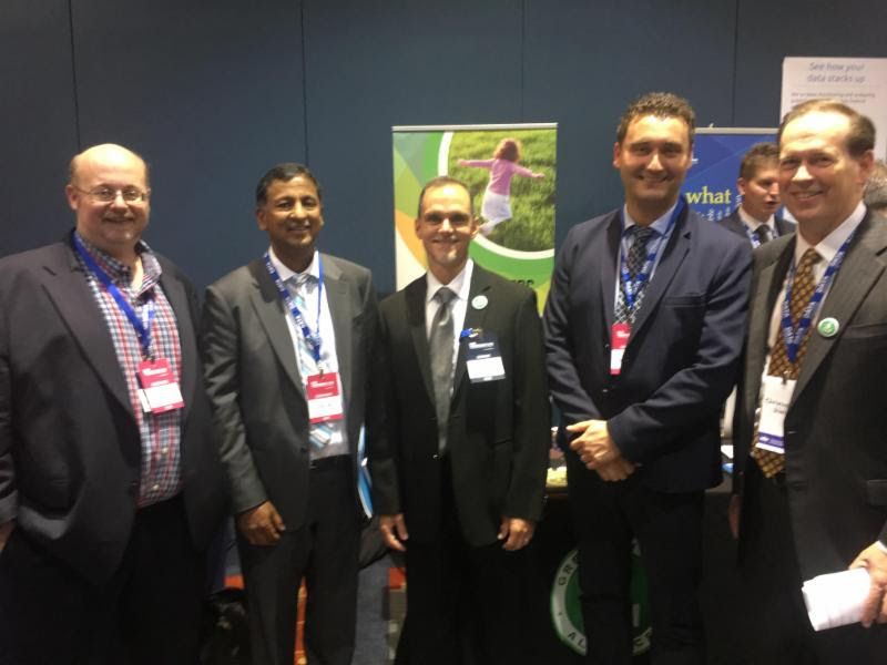 (L-R): GBA board member David A. Wollman, NIST; GBA chairman Syed Mir, London Hydro; GBA general manager Jeremy J. Roberts; Zoran Stojanovic, London Hydro; GBA board member Christopher J. Irwin, U.S. DOE